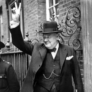 Churchill giving the victory sign
