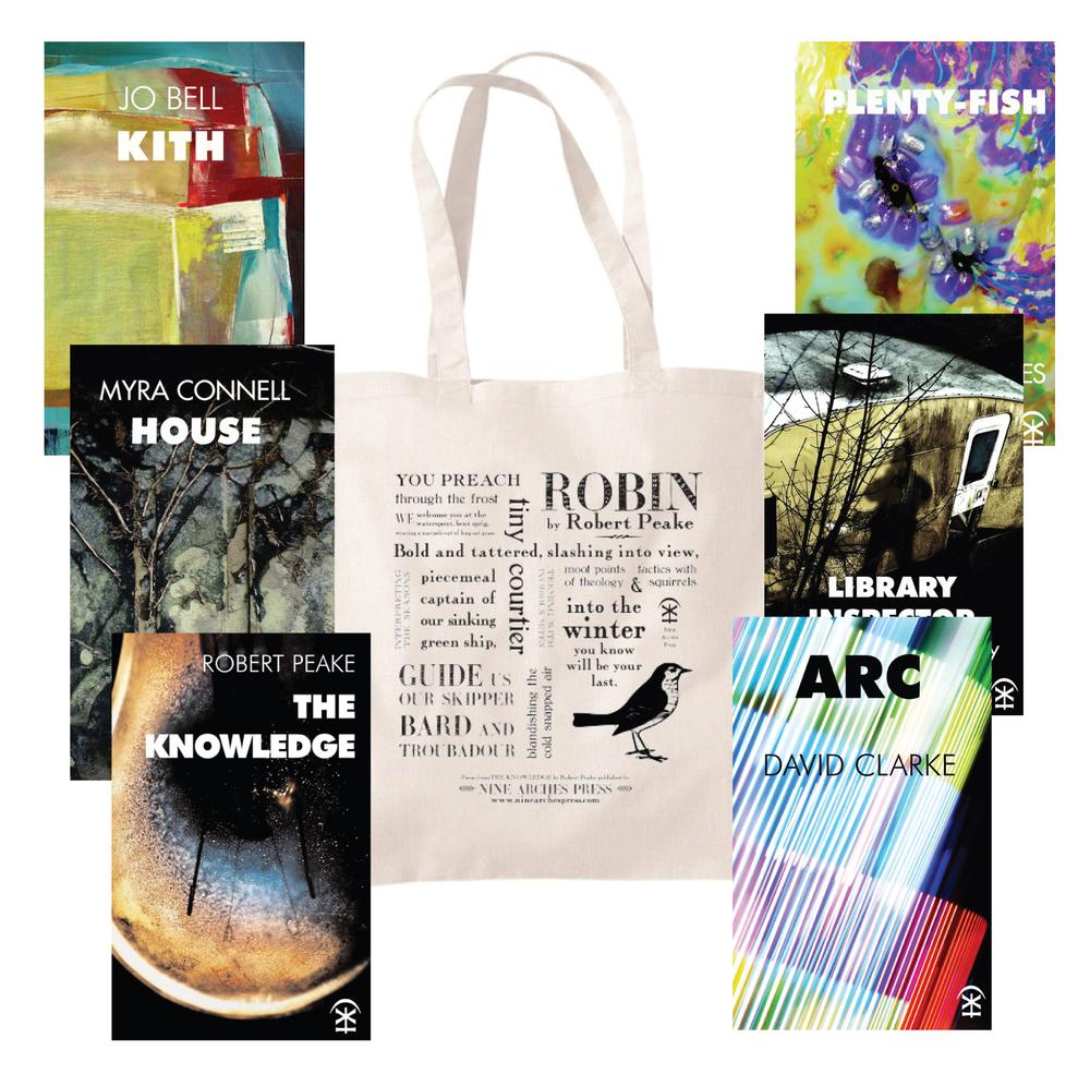 Bag in splendour next to fine poetry books